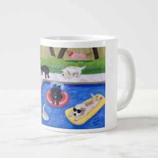 Pool Party Labradors Fun Painting Giant Coffee Mug