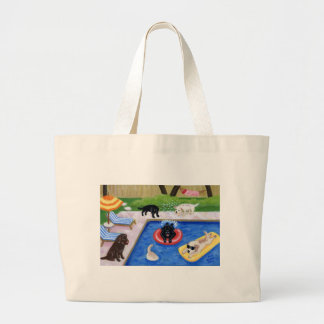 Pool Party Labradors Fun Painting Large Tote Bag