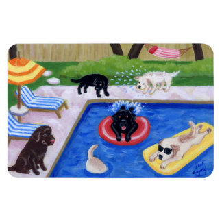 Pool Party Labradors Fun Painting Magnet