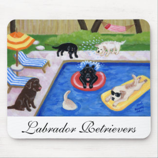 Pool Party Labradors Fun Painting Mouse Pad