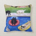 Pool Party Labradors Fun Painting Pillows