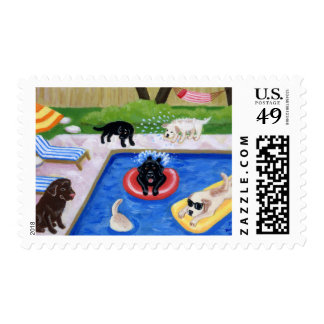 Pool Party Labradors Fun Painting Postage Stamps