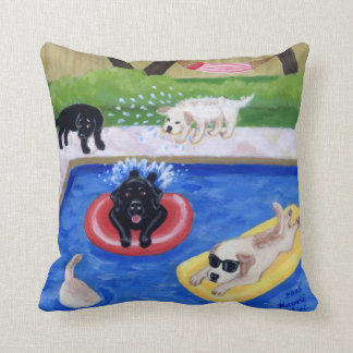 Pool Party Labradors Fun Painting Throw Pillow