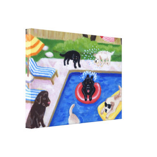 Pool party Labradors (new) Artwork Canvas Print