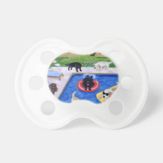 Pool Party Labradors Painting Baby Pacifier