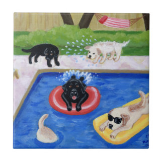 Pool Party Labradors Painting Ceramic Tile