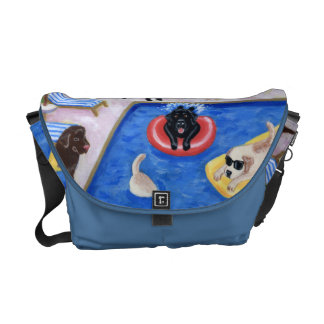 Pool Party Labradors painting Courier Bag