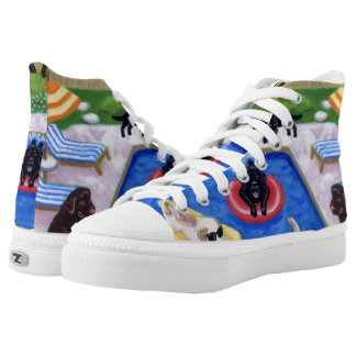 Pool Party Labradors Painting High-Top Sneakers