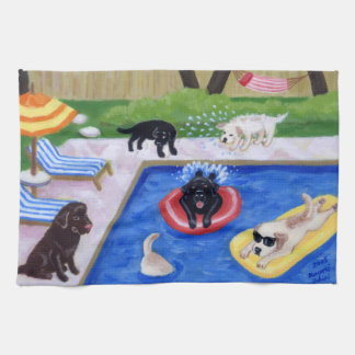 Pool Party Labradors Painting Kitchen Towels