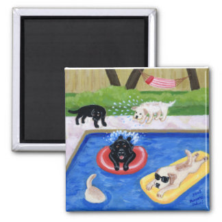Pool Party Labradors Painting Magnet