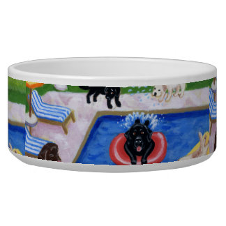 Pool Party Labradors painting Dog Water Bowl