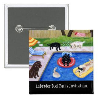 Pool Party Labradors Pinback Button