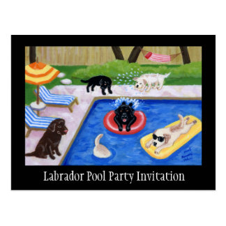 Pool Party Labradors Postcards