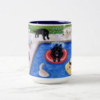 Pool Party Labradors Two-Tone Coffee Mug