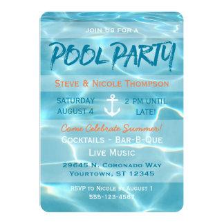 Pool Party Nautical Summer Aqua Orange and White Card