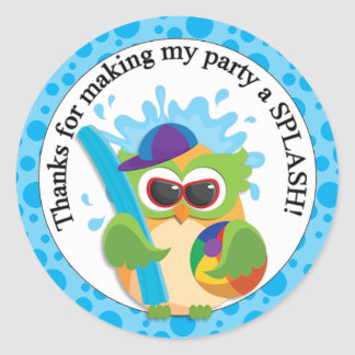 Pool Party Owl Thank You Round Stickers