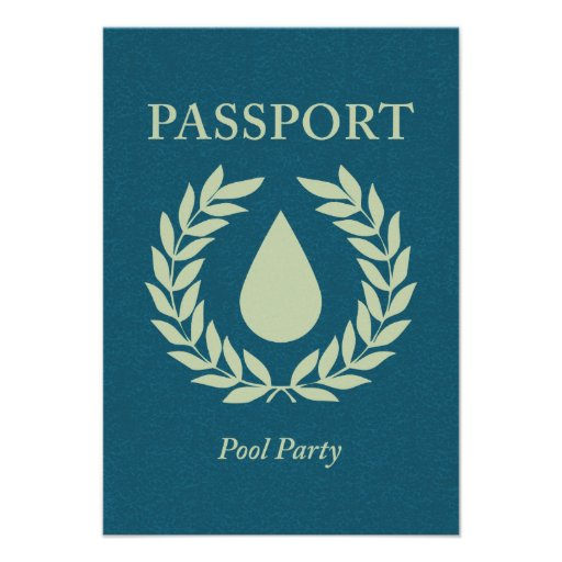 pool party passport personalized announcement