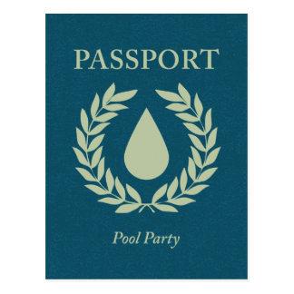 pool party passport postcard