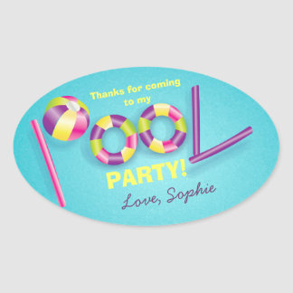 Pool Party Personalized Birthday Favor Sticker