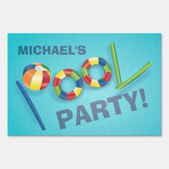 Pool Party Personalized Birthday Party Yard Sign Zazzle Com