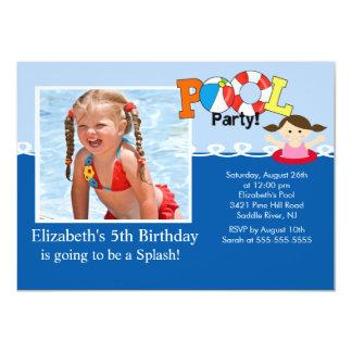 POOL Party PHOTO Girls Birthday Invitation