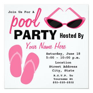 Pool Party - Retro Cat Eye Sunglasses & Flip Flops Invitations