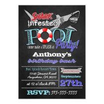 Pool Party Shark Birthday Invitations
