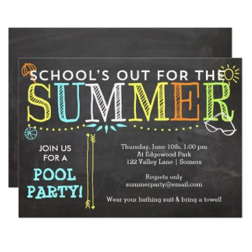 Beach Themed Pool Party Summer Invitation-School's Out Card