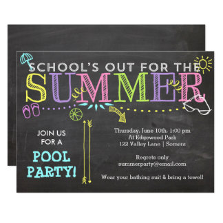 Pool Party Summer Invitation-School's Out Neon Card