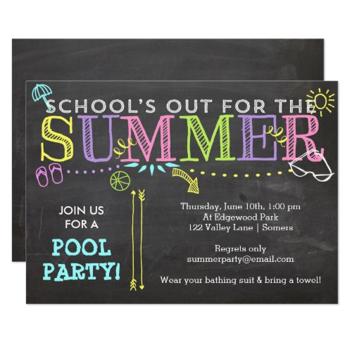 Pool Party Summer Invitation-School's Out Neon Invitation
