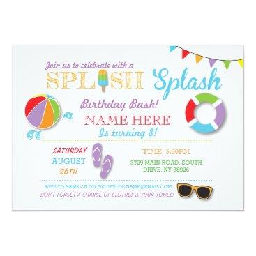 Beach Themed Pool Party Swimming Birthday Splish Splash Invite