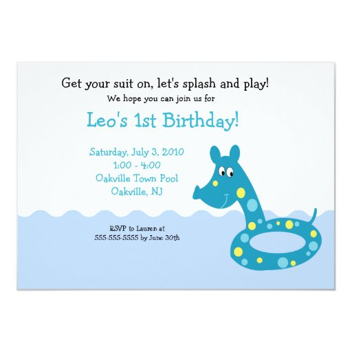 POOL Party Swimming Tube 5x7  Birthday Invitations