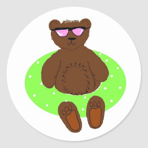 Pool Party Teddybear in Tube Classic Round Sticker
