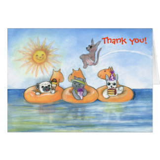 Pool Party Thank You Note Card