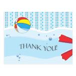 Pool Party Thank You Postcard - Boy