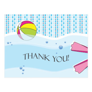 Pool Party Thank You Postcard - Girl