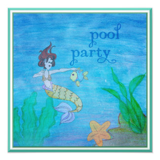 Pool Party Tropical Mermaid 5.25x5.25 Square Paper Invitation Card