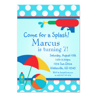 Pool Party Turquoise Polka Dot Birthday Invite