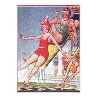 "Pool Party Vintage Swim 4.5 x 6.25"" Invitations"