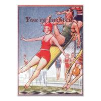Pool Party Vintage Swimming Invitation