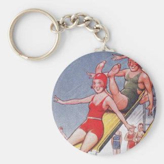 Pool Party Vintage Swimming Basic Round Button Keychain