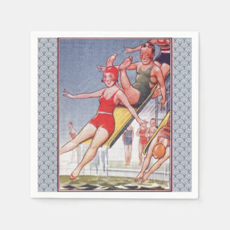 Pool Party Vintage Swimming Paper Napkin