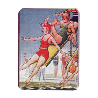 Pool Party Vintage Swimming Rectangular Photo Magnet
