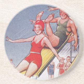 Pool Party Vintage Swimming Sandstone Coaster