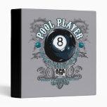 Pool Player Filigree 8-Ball 3 Ring Binder