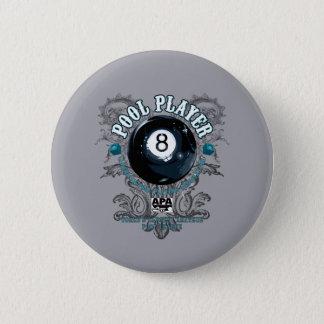 Pool Player Filigree 8-Ball Pinback Button