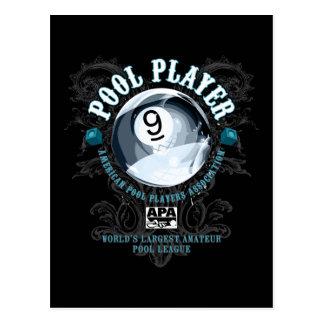 Pool Player Filigree 9-Ball Postcard
