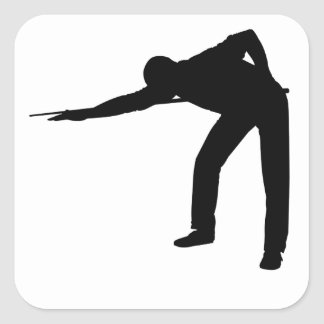 Pool Player Silhouette Square Sticker