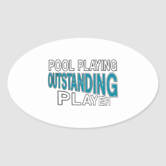 POOL PLAYING OUTSTANDING PLAYER OVAL STICKER