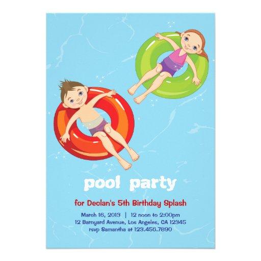 "Pool Rings Summer Swim Birthday Party Invitation 5"" X 7 ..."